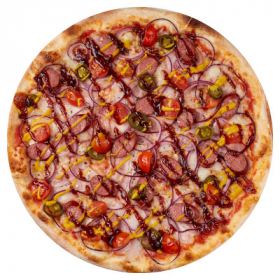 Пицца с копчёными колбасками